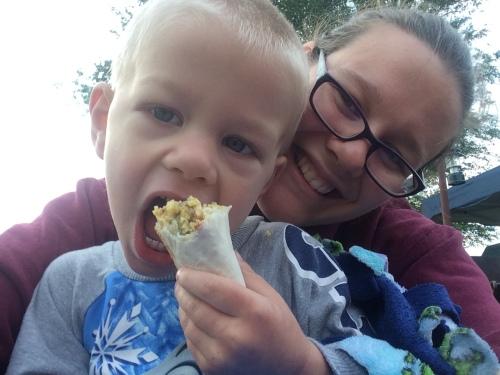 Camping: Mmm... breakfast burrito!! @ quirkyandwonderful.wordpress.com